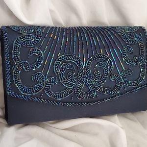 La Regal BEADED clutch shoulder bag navy Blue NEW